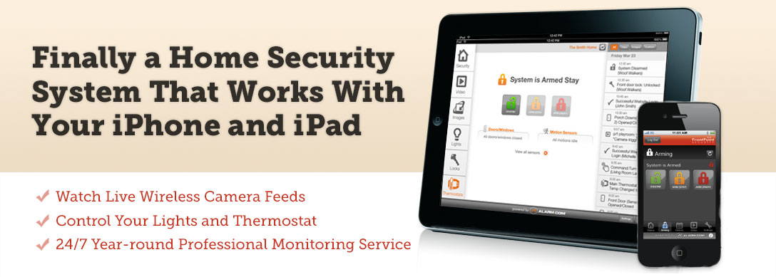 Control your home security system with your iPhone.